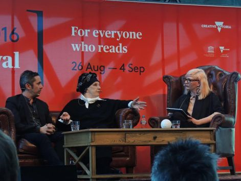 Hosting 'Brett Whiteley: Art, Life and the Other Thing', with Wendy Whiteley and biographer Ashleigh Wilson, at the 2016 Melbourne Writers Festival.
